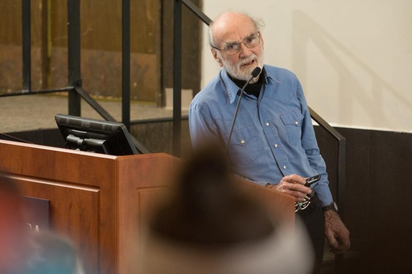 Photojournalist, Matt Herron, gives a presentation at Utica College.