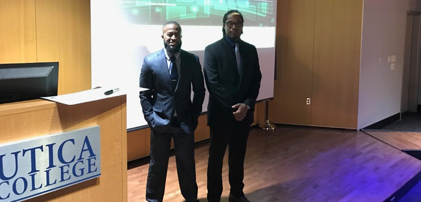 Eric Johnson and Gregory Spears prepare to present at Carbone Family Auditorium in a bid to win over 1k in startup funding. Photo by James McClendon